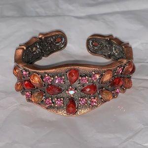 Copper Tone Rhinestone Sparkly Cuff Bracelet Bends